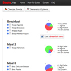 Swole.me is a colourful online diet planner